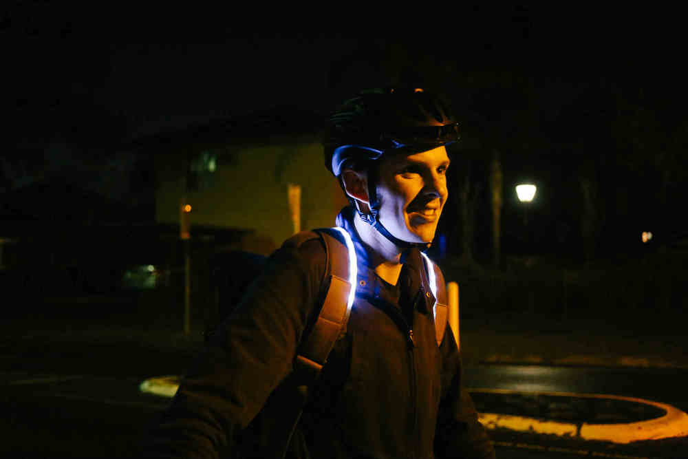 Shoulder strap LEDs light you up without shining into your eyes.