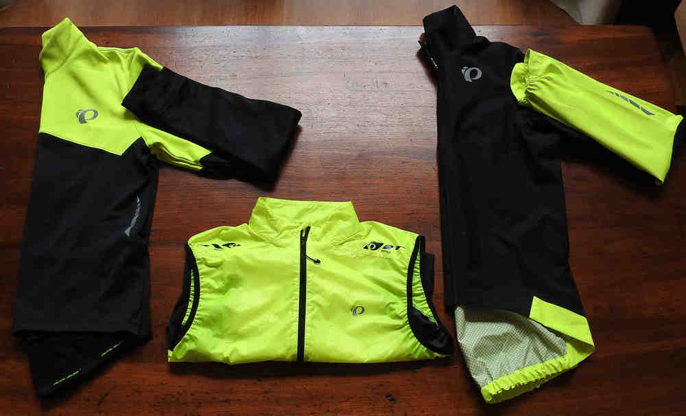 Left to right we have the Elite Thermal LS jersey, Barrier Lite Vest, and the elite WxB Jacket