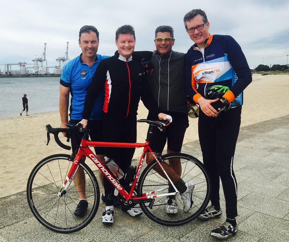Ben on his last training ride with (left to right) - Colin Brooks, Ben Carroll, Steve Bracks and Steve Booth.