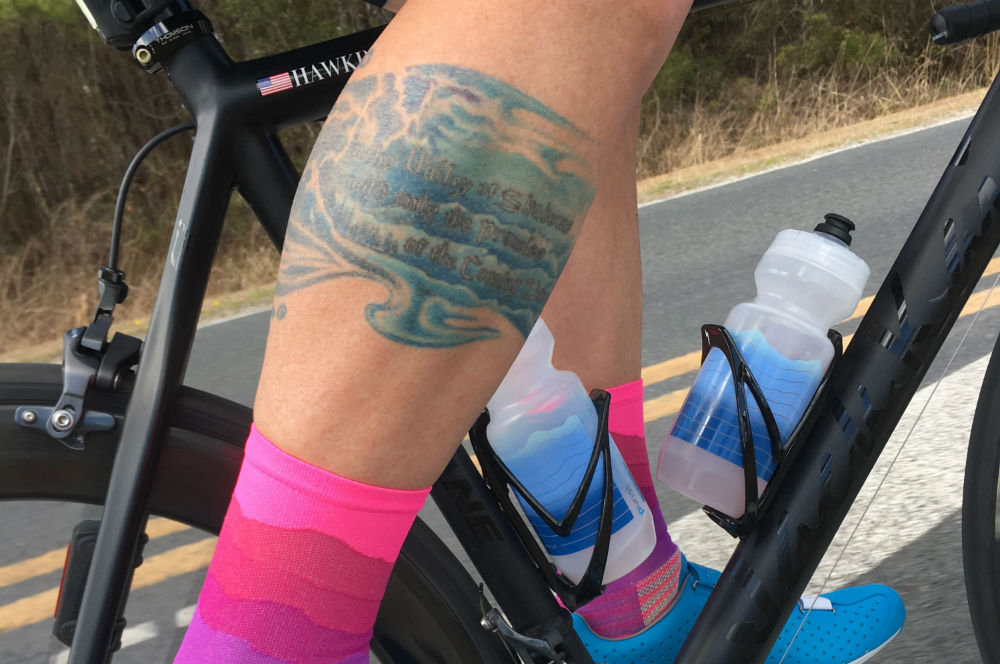 There's no mistaking Matt's bike, calf, or the amazing socks he designs and sells through Ridge Supply