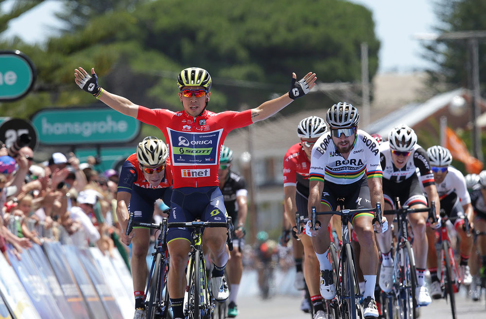 Orica-Scott's Caleb Ewan wins Hansgrohe Stage 3 into Victor Harbor