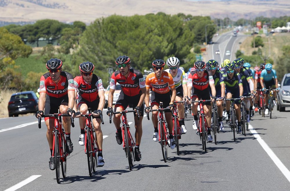 BMC Racing leads the peloton during BikeExchange Stage 5
