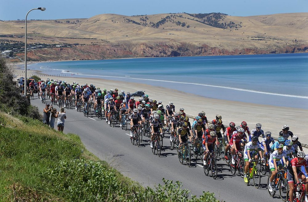 The peloton passes along the esplanade at Aldinga beach