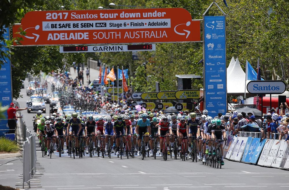 The peloton races through the Adelaide streets