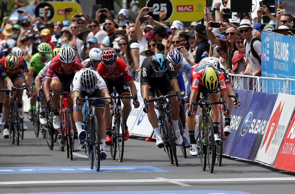 Caleb Ewan ORICA-SCOTT) wins Be Safe Be Seen, MAC Stage 6 of the Santos Tour Down Under