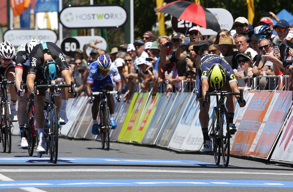 First across the line - Caleb Ewan's bike with Caleb Ewan some distance behind