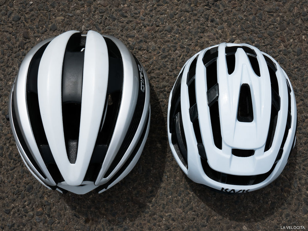 The Valegro is a very low profile helmet, pictured here next to a Giro Synthe in Large.