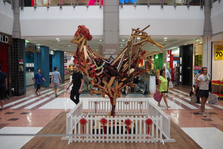 Elyssa Sykes-Smith constructed a piece of public art in Broadway Shopping Centre to celebrate Chinese New Year.