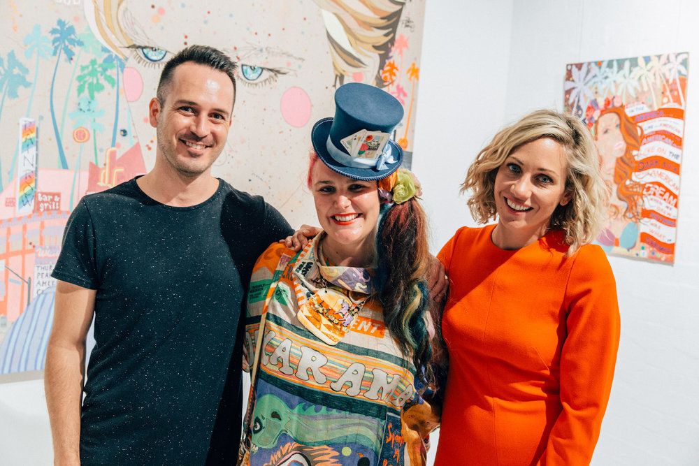 V∆ND∆L Creative Director Emile Rademeyer (L), Sarah Beetson, and Art Pharmacy Founder & Director Emilya Colliver (R)