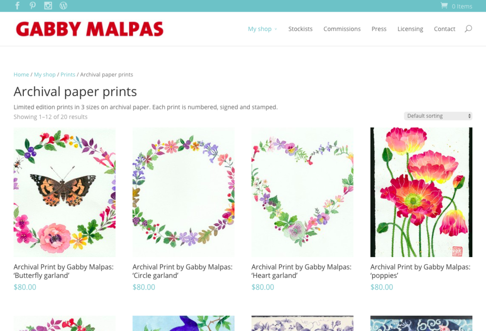 A screenshot from Gabby Malpas' website showing her shop.
