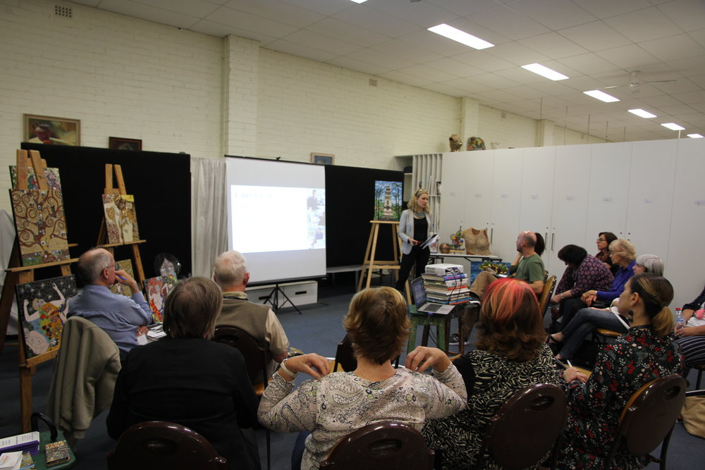 Emilya Colliver at a speaking event for artists from the Georges River & Bayside Council area
