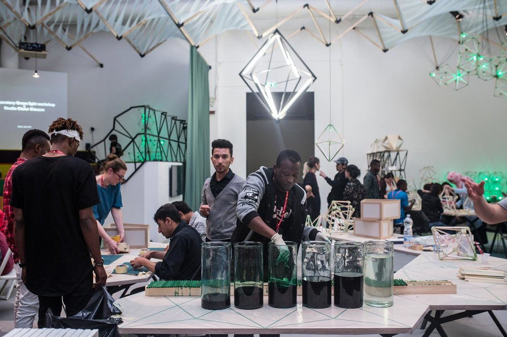 The Green Light Workshop invited the general public and asylum seekers to create together. Photo credit: Damir Zizic, 2017 / Olafur Eliasson