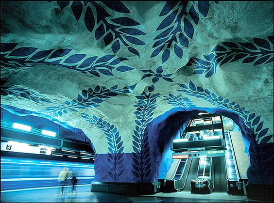 Per Olof Ultvedt's ceiling and wall mural at T-Centralen Station