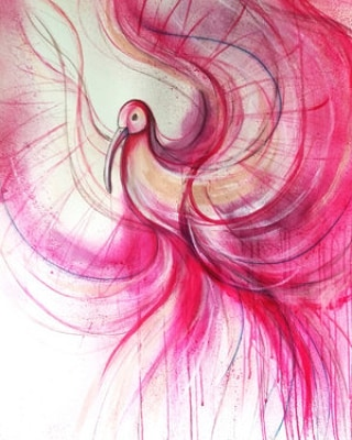"This will brighten up your afternoon! ""Pink Ibis"" bu Leni Kae symbolises expanding and exploring the intuition, particularly with respect to being open to creativity and love - stunning Leni! Shop with the Art Pharmacy Christmas Sale through the link in our bio."