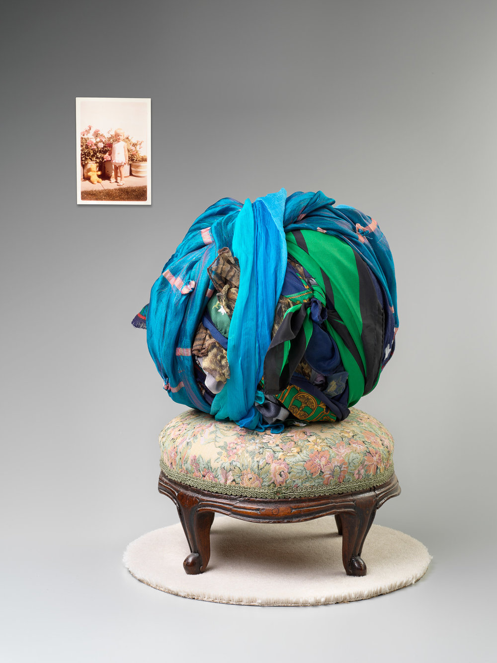 Left Behind   2017  420 x 350 x 350mm  found photo, footstool, linen, silk, wool  photographer Grant Hancock