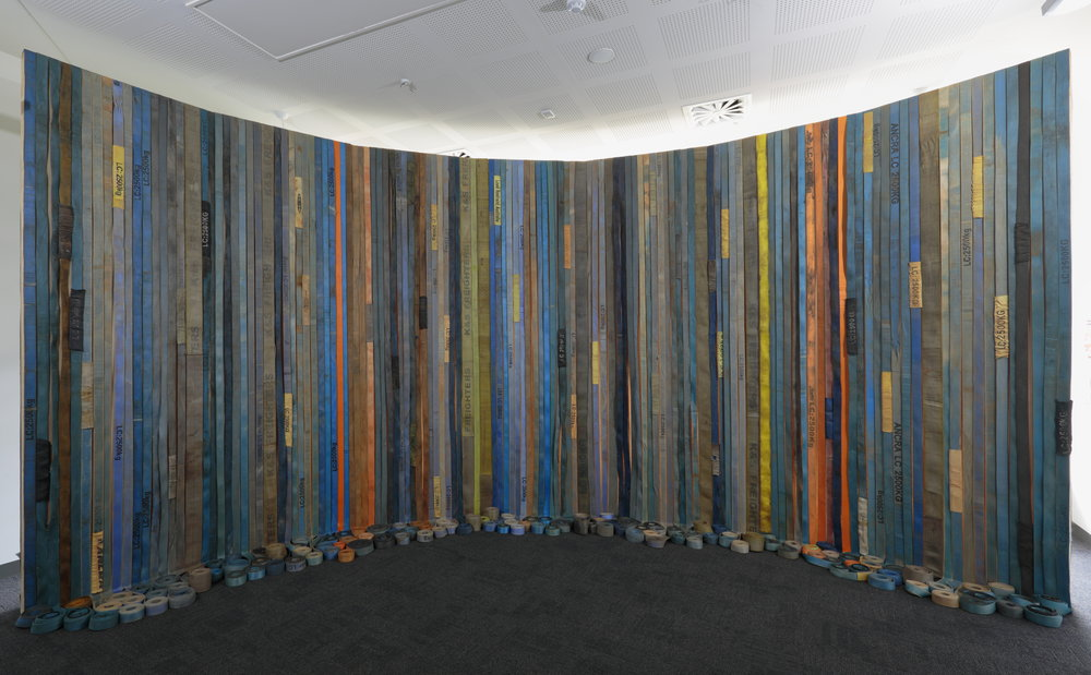 True Blue  2018  300 x 700 x 150cm  used rachet tie downs bought from Bunbury, Albany, Whyalla, Freeling, Alice Springs, Mount Gambier, Millicent, Adelaide, Melbourne, Sydney and Brisbane  photographer Tim Gresham