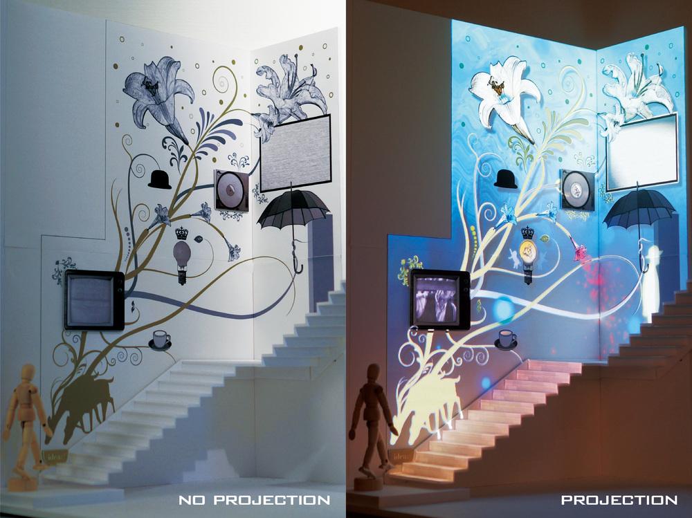 アシュラスコープならではの、オリジナルアートワーク。アシュラスコープはアートチームとしても活動。プロジェクションを使った様々な演出・オリジナルサウンドで空間の魅力を引き出す、アシュラスコープならではのインスタレーション作品を創作しています。