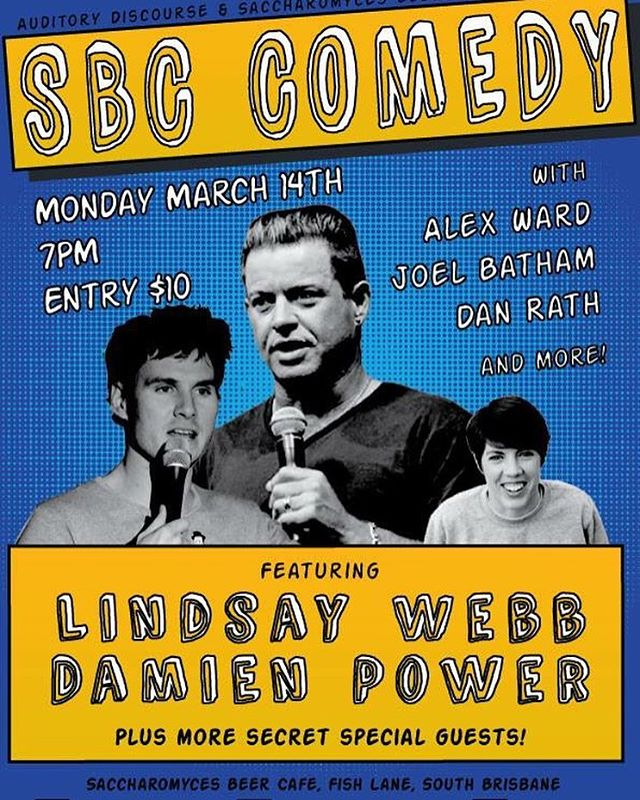 Back next Monday for another huge night of comedy.  Starring #lindsaywebb, #damienpower, #alexward and many more! Join us @saccharomycesbeercafe for craft beer and bulk laughs.  #sbccomedy #brisbanecomedy #standup #fishlaneprecinct