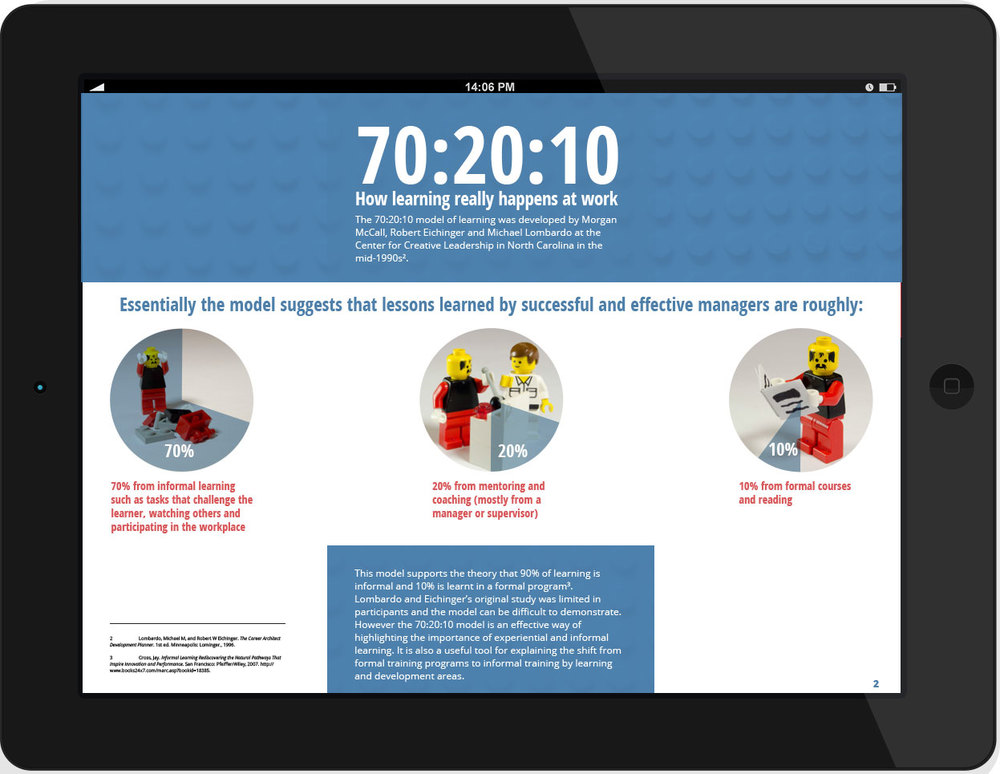 iPad mock up of 70:20:10 page