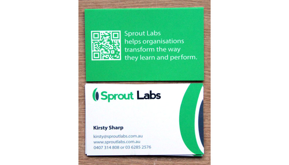 Sprout Labs business cards. QR code on back links to the website.