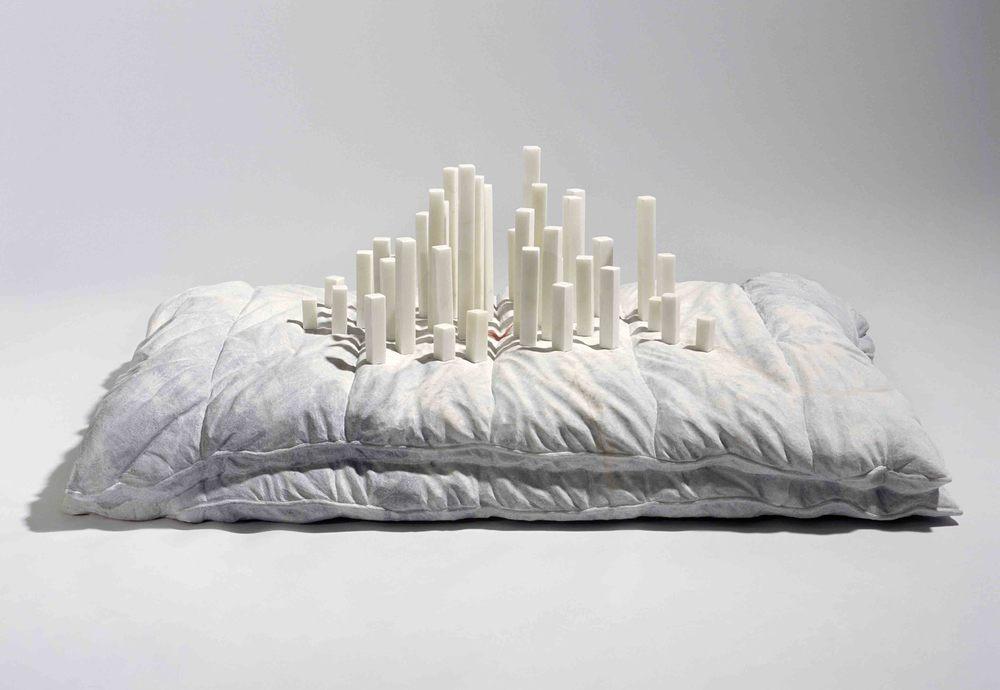 Built over a divide , 2007, Wombeyan & Statuario marble, 40x104x64cm.