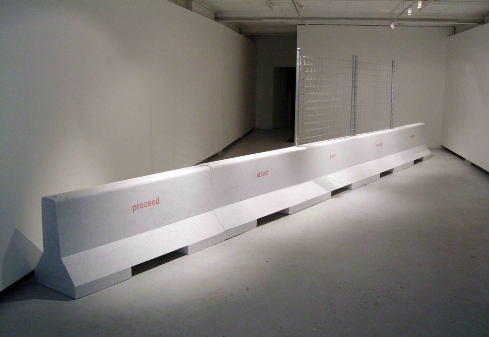 Barrier (proceed about your normal routine),  2007, white marble, 75x56.5x185cm each.