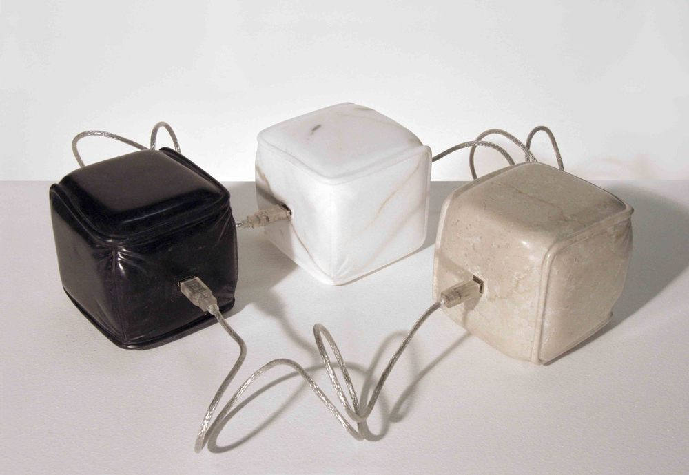 USB Stones™,  2005, various marble, USB Cables, dimensions variable.