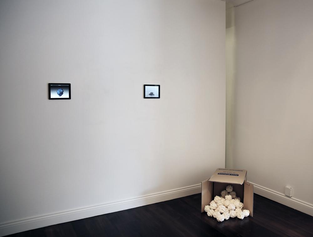 Resequent  Boulders 2013,pla digtial print plastic A3 balls, video,13 x 13 x 13 cm