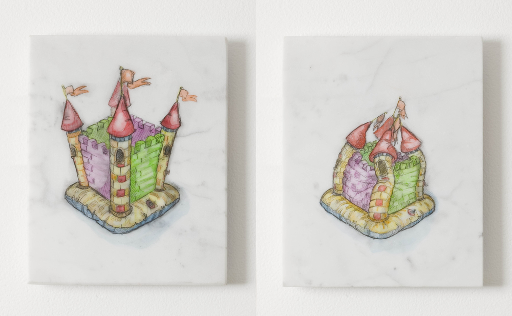 Plans for My Kingdom  2010, watercolour on marble, 20.5 x 16.5 cm each
