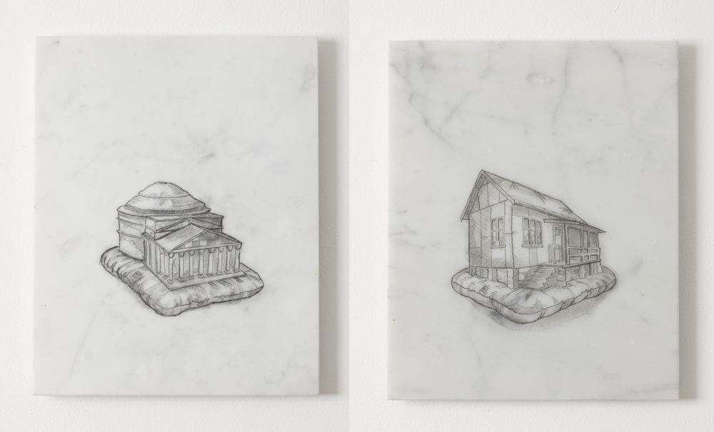 L:  Everybody Wants to Rule the World (Raphaels Parthenon)  2010, graphite on marble, 30.5 x 24.6 cm  R:  Everybody Wants to Rule the World (Greenhood)  2010, graphite on marble, 30.5 x 24.6 cm