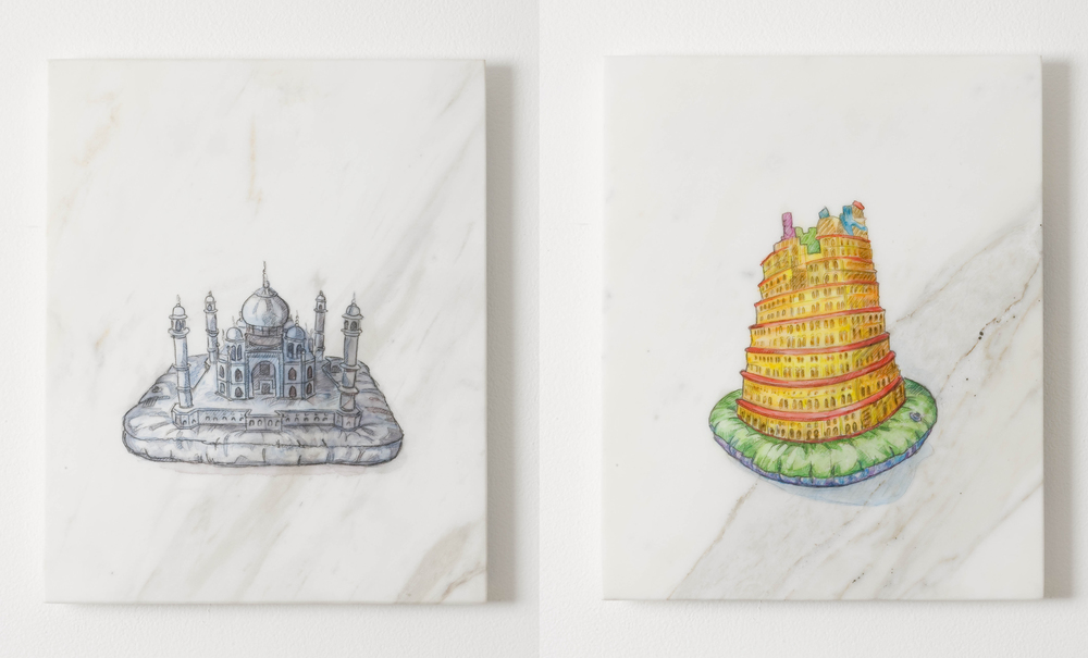 L:  Everybody Wants To Rule the World (Black Taj Mahal)  2010, watercolour on marble, 30.5 x 24.6 cm  R:  Everybody Wants to Rule the World (The Tower of Babel after Brueghel)  2010, watercolour on marble, 30.5 x 24.6 cm