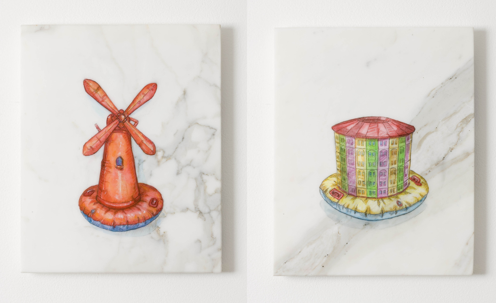 L:  Everybody Wants To Rule the World (Red Mill after Mondrian)  2010, watercolour on marble, 30.5 x 24.6 cm  R:  Everybody Wants to Rule the World (Benthams Panopticon)  2010, watercolour on marble, 30.5 x 24.6 cm
