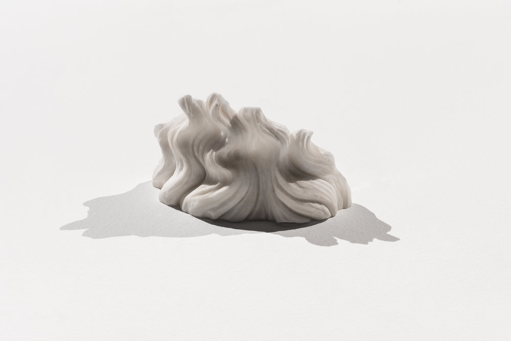 Beard of the effigy, 2016 Imperial white marble 10 x 16 x 7 cm