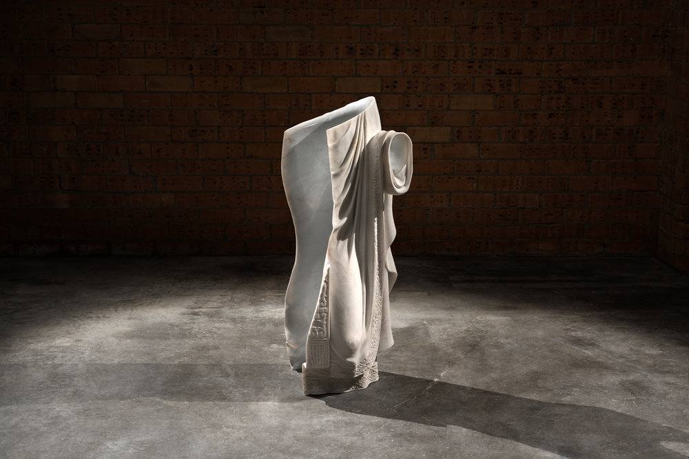 Robes of the effigy, 2016 Imperial white, found object