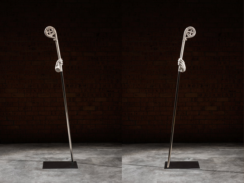 Staff of the effigy   2016 found sculpture, stainless steel 198 x 48 x 40 cm