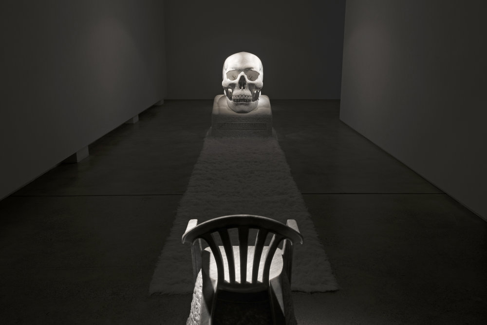 Sometimes the Dead are More Alive than the Living 2017 Wombeyan marble, wool rugs and acrylic paint 163 x 120 x 115 cm   The Monobloc Throne 2017 Bianca Carrara 101 x 54 x 54 cm