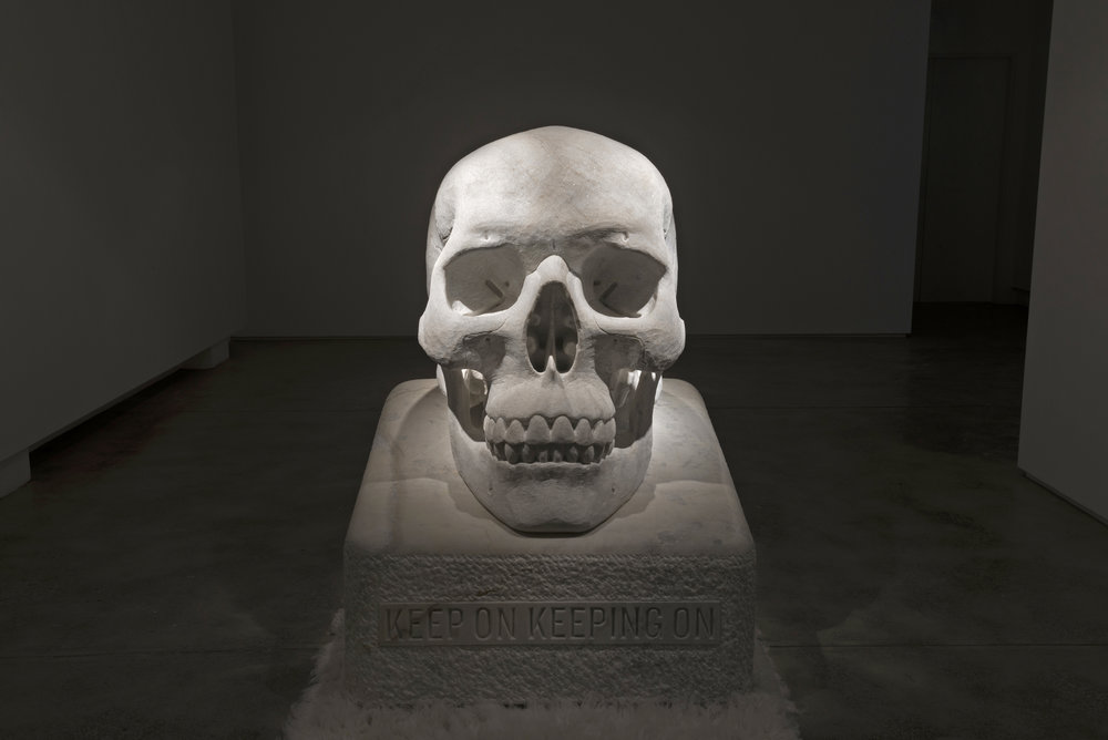 Sometimes the Dead are More Alive than the Living 2017 Wombeyan marble, wool rugs and acrylic paint 163 x 120 x 115 cm