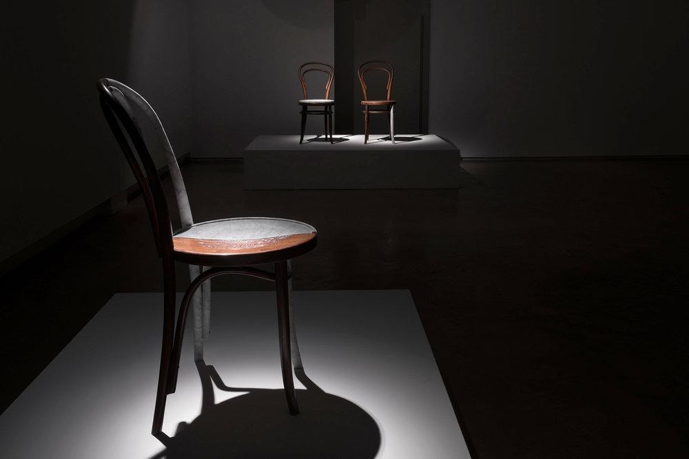 Bentwood Hybrid 02 2016 Bianca Carrara, Bentwood chair 94 x 40 x 54 cm   Bentwood Hybrids 2016 Antique Viennese Thonét Bentwood and Bianca Carrara 94 x 41 x 50 cm eac