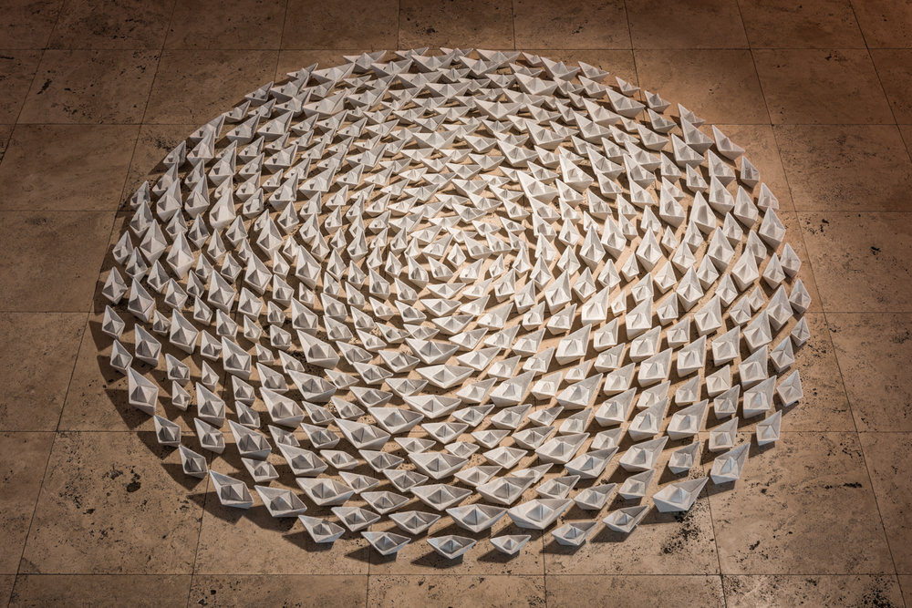 Paper Armada   2015 Bianco Carrara marble dimensions variable