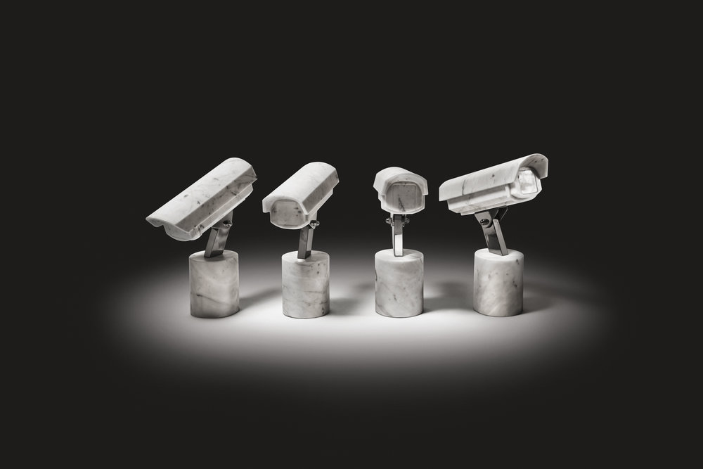 Quartet   2012 Bianco Carrara marble, stainless steel 4 pieces, 46 x 15 x 35 cm each