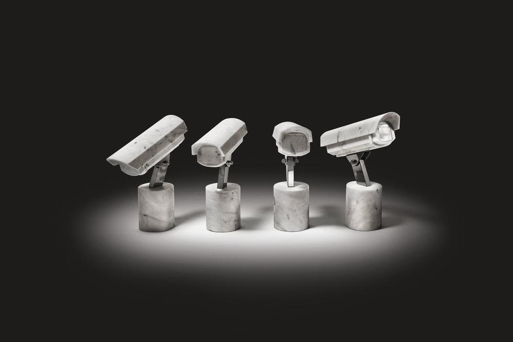 Quartet  2012, Bianco Carrara marble, stainless steel, 4 pieces,46 x 15 x 35 cm each