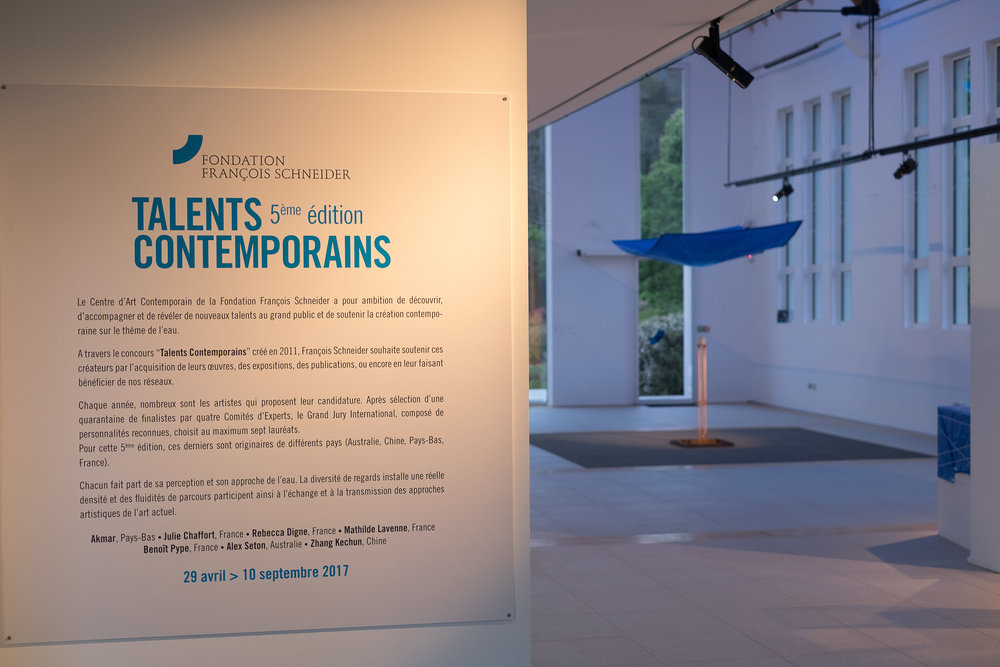 "Fondation François Schneider Talents Contemporains / Contemporary Talents 5th Edition   The International Grand Jury of the 2015 Foundation François Schneider ""Contemporary Talents"" competition met in Paris in May 2016 where the list of the prizewinners was announced, including Alex Seton for his work  Deluge in a cup,  2015.  The competition supports contemporary creations on the theme of water. After selection of 42 finalists by four Experts' Committees, the International Grand Jury chooses seven prizewinners.  The exhibition of the prizewinning works was presented from April to September 2017 in the Foundation's centre in Wattwiller, France.   Photography: Steeve Constanty"