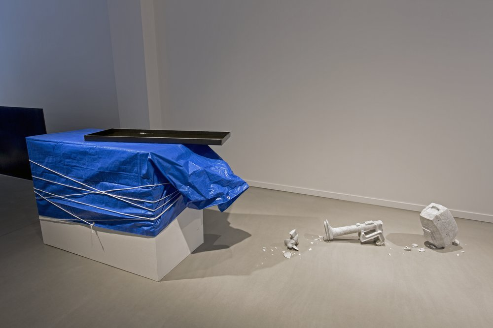 Oilstone 02: Transcendent  2015, Bianca Carrara, stainless steel tray, motor oil, tarp, rope, dimensions variable
