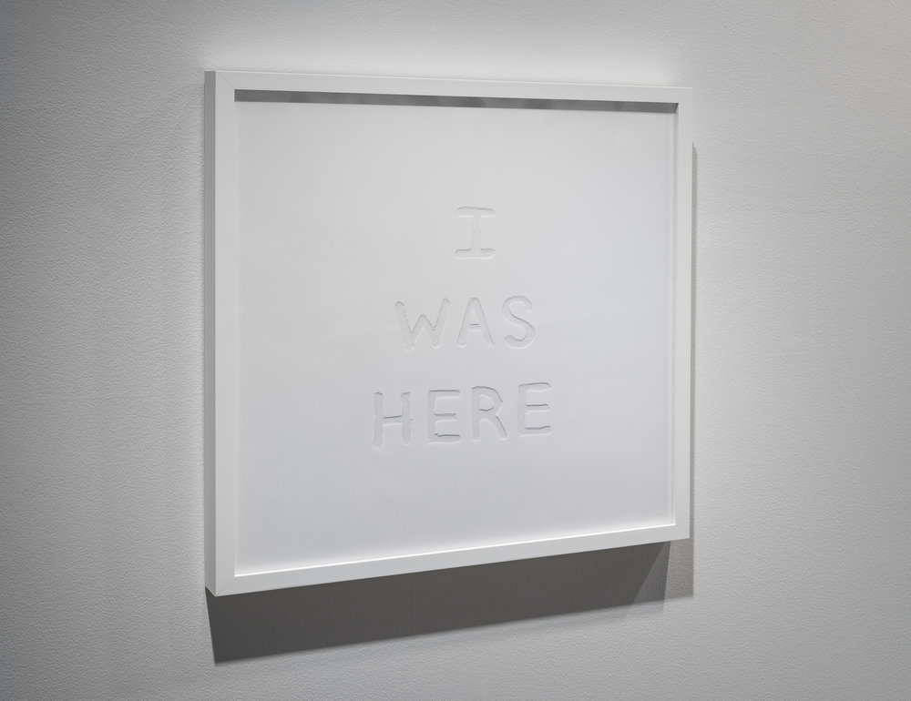 I Was Here  2013, reverse drawing in marble dust on acrylic, 56 x 56 cm (from  Dust Hinterglasmalerei).