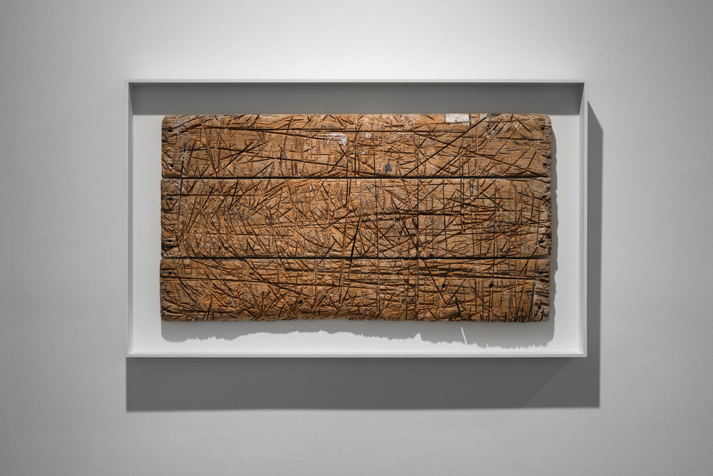 A Thousand Cuts  2013, wood (studio tabletop of the artist 2001-2011), 60 x 100 cm.