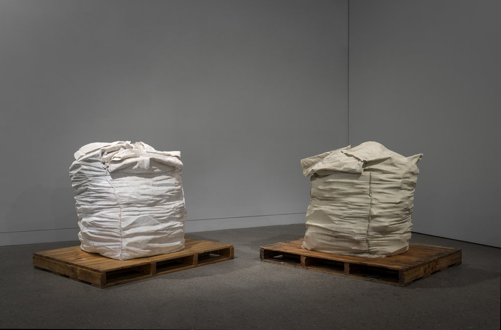 Recycled Bags  2013, Wombeyan marble, nylon bag, rubble, 110 x 110 x 100 cm each