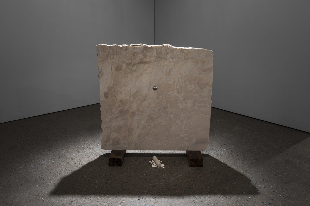 Glory Hole  2013, Wombeyan marble, core and dust from drilling, hardwood, 110 x 120 x 50 cm