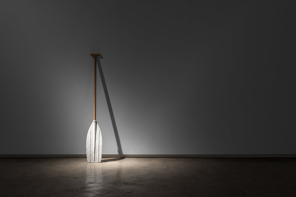 A Paddle  2014, Wood and Bianco marble, 100 x 18 x 4cm