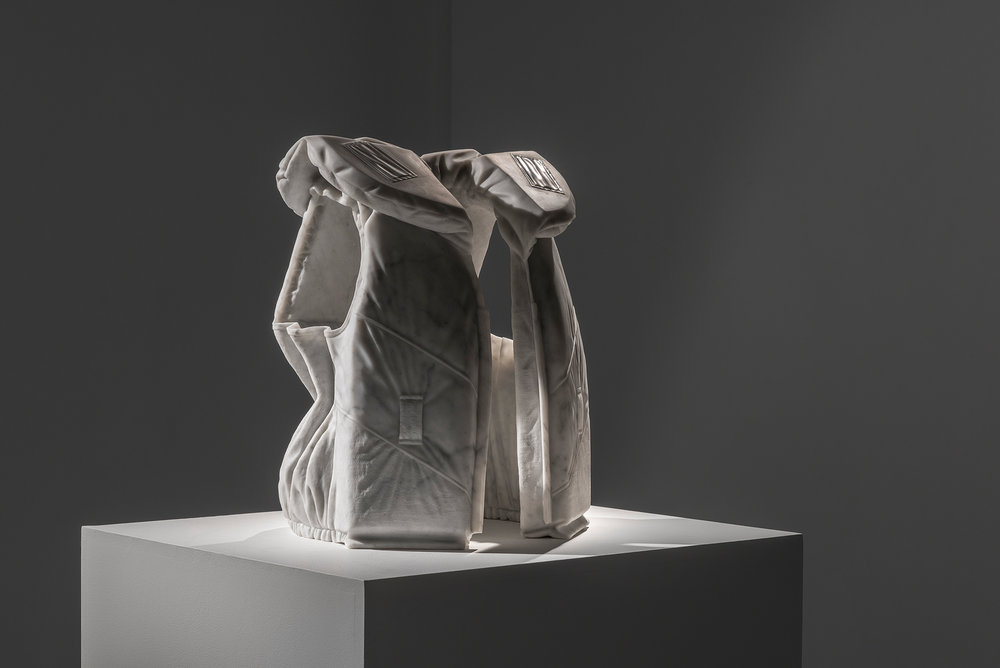 Life Vest M (Emergency) 2014, Bianco marble, 54 x 40 x 30 cm