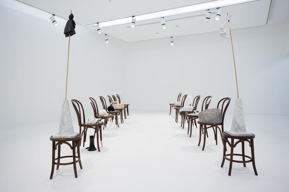 Pygmalion Effect , 2016 Fameg Bentwood chair, Statuario. 90 x 40 x 54 cm